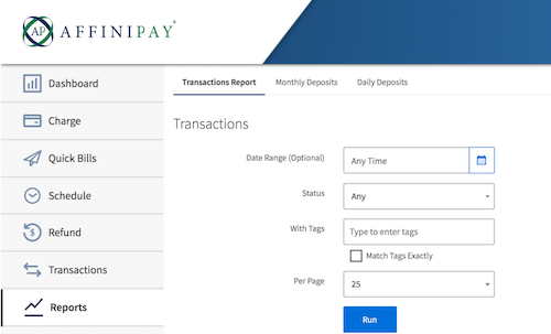 affinipay quickbooks online payments wild apricot reports